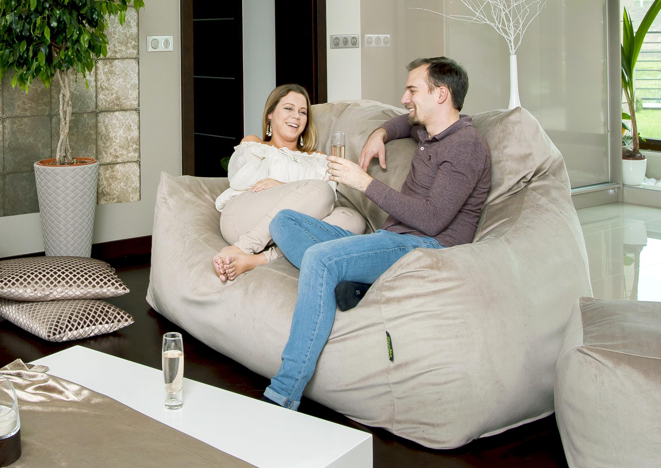 Amőba Relax max duo, 2 személyes babzsák kanapé kiszállást segítő karfákkal