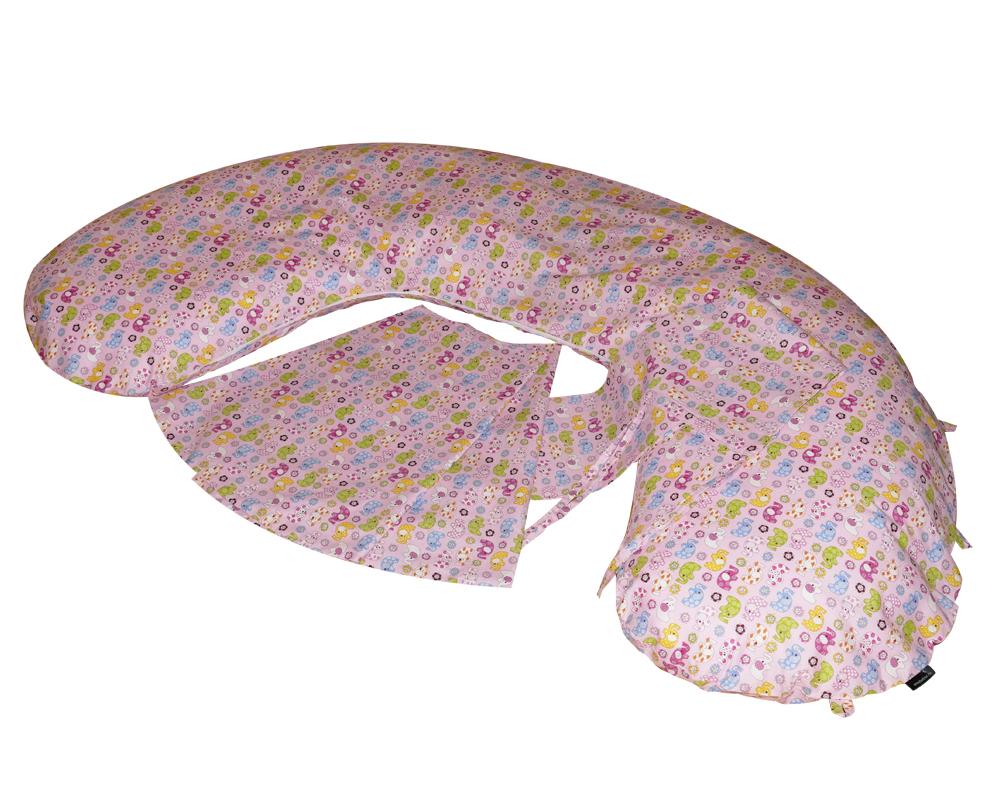 Amőba iker szoptatós párna állítható, és rögzíthető áthidaló pánttal (rózsaszín elefántos)