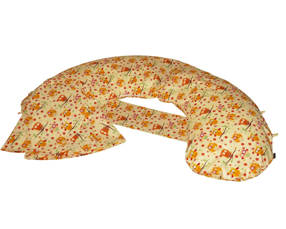 Amőba iker szoptatós párna állítható, és rögzíthető áthidaló pánttal (sárga baglyos)