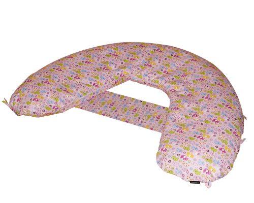 Amőba szoptatós és kismama párna állítható, és rögzíthető áthidaló pánttal (rózsaszín elefántos)