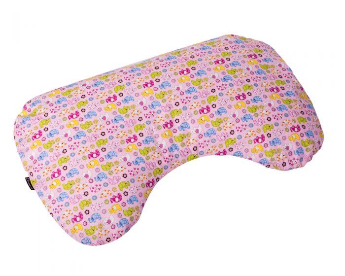 Amőba, bab alakú szoptatós párna babzsákfotelhez (rózsaszín elefántos)
