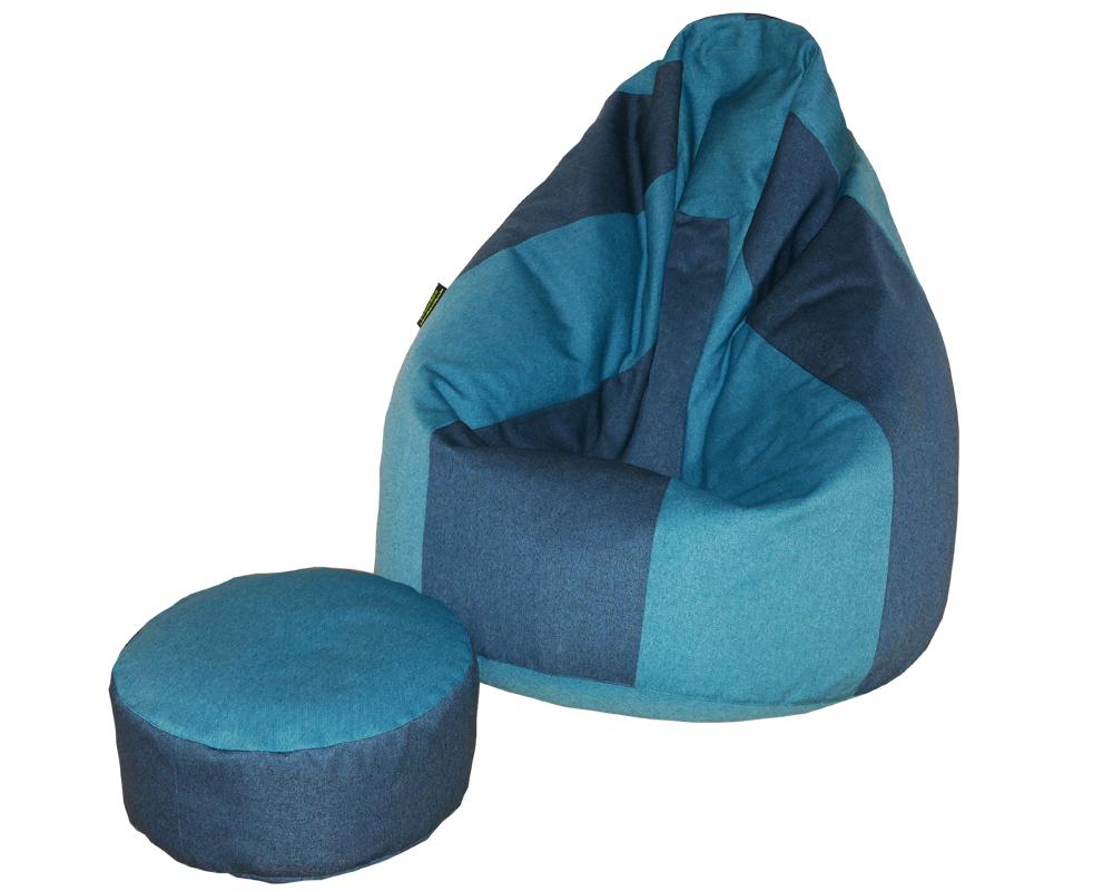 Junior babzsákfotel 8 cikkes, Lepény babzsák puffal (kék-türkiz) készleten