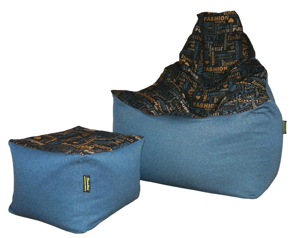"""Relax max """"L"""" babzsákfotel Relax babzsák puff (kék-mintás)"""