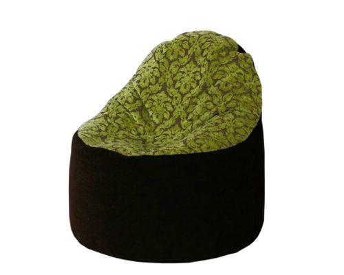 Kagyló babzsák szék (sötétbarna-kivizöld virágokkal)