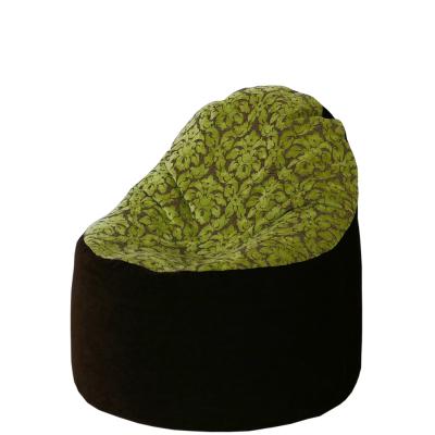 Kagyló babzsák szék bútorszövet (sötétbarna kivizöld virágokkal)