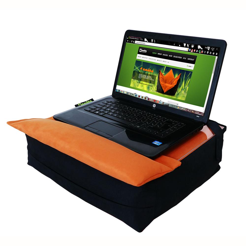 Amőba laptoptartó kézpárnával, laptoppal